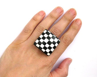 Black white ring - Black ring - Geometric ring - Adjustable ring - Boho jewelry - Boho ring - Modern ring - Chess board ring - Gift for her
