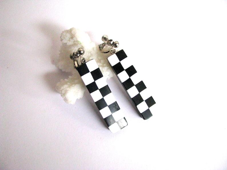 Clip on earrings Bar earrings for her Black white earrings Drop earrings for women Geometric jewelry Cute earrings Simple earrings