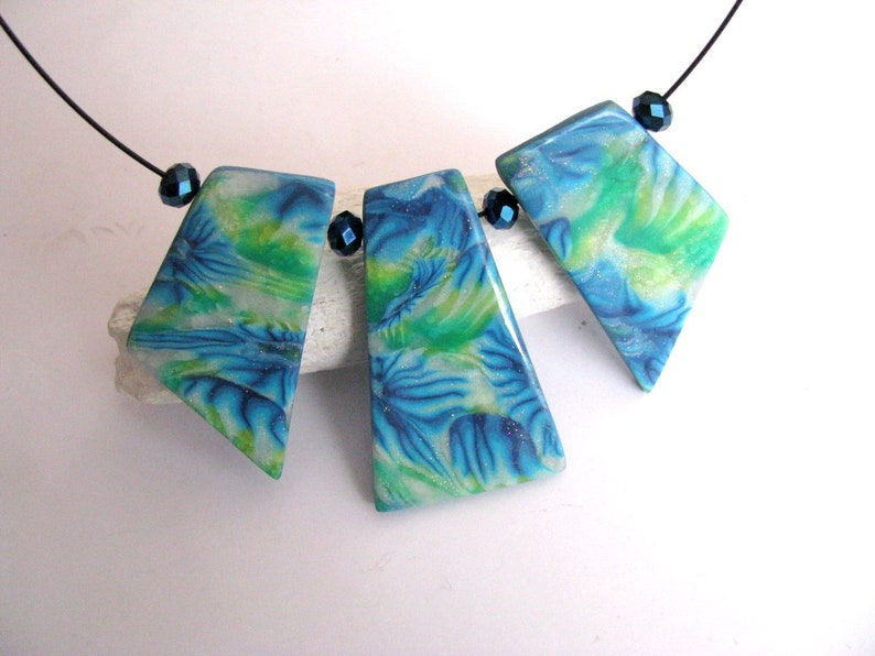 Statement necklace Boho necklace Bib necklace gift Blue Green necklace Necklace for women Mid Century jewelry Blue jewelry Bib necklace