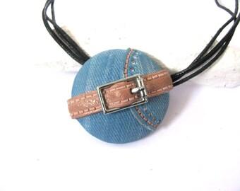 Blue necklace, Boho necklace, Boho jewelry, Hippie necklace, Summer necklace, Beach necklace, Gift for her, Denim jewelry, Jewelry for her