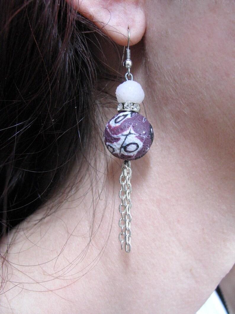 962940c480c2a Purple drop earrings Boho beaded long drop earrings, Boho jewelry Cute  simple dangle earrings, Everyday chunky earrings Statement earrings