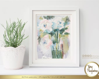 Roses in a Vase  Watercolor Art Printable Print,Interior Design, Home Decor, Kitchen prints,floral prints, Watercolour art print,