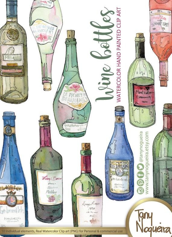 Wine Bottles Glass Colored Clip Art Images Etsy