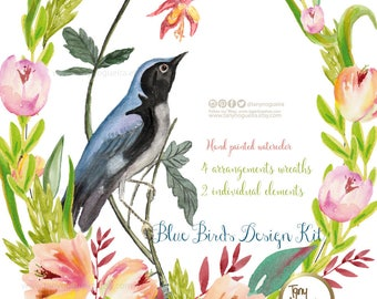 Blue Birds Design Kit  Hibiscus Watercolor, Clipart, PNG, hand painted, hawaiian party, for invitations, blog, cards, quotes, prints,