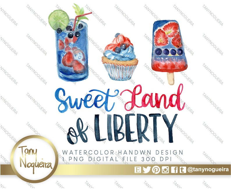 Sweet Land of Liberty Watercolor Sublimation Lettering Image image 0