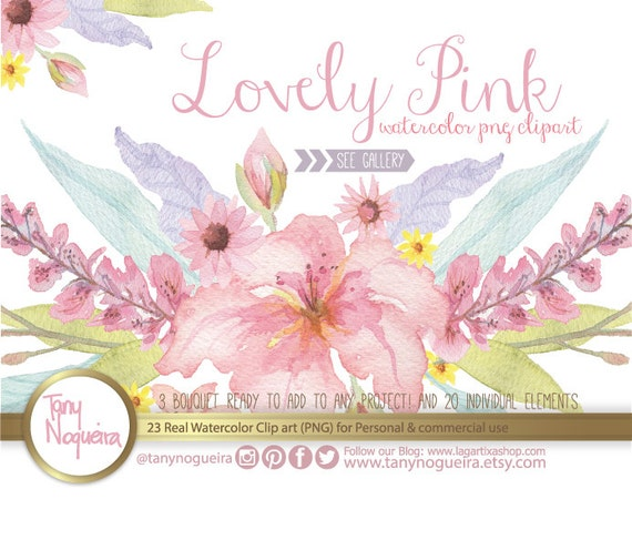 Lovely pink watercolor flowers wedding elements png vintage etsy image 0 mightylinksfo