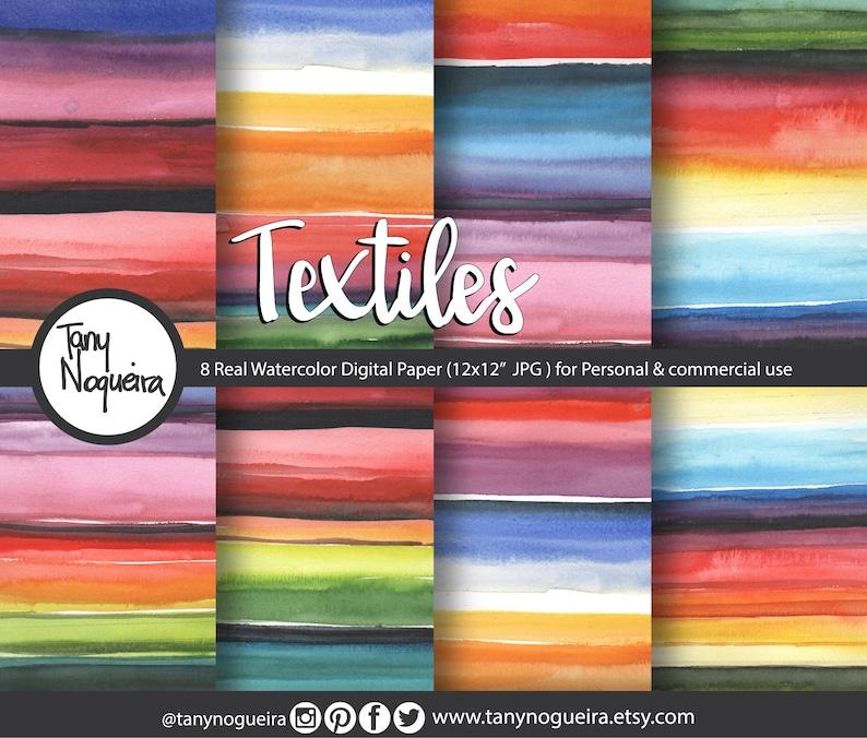 Folklor Textiles Fiesta Watercolor Digital Paper Backgrounds image 0