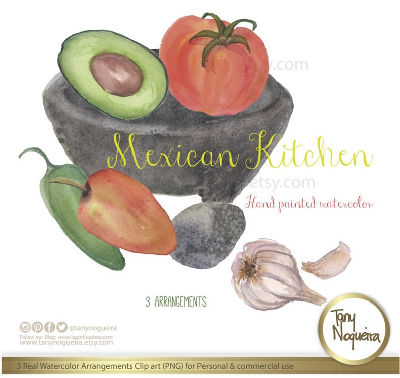189a7b7a1e99c 3 Watercolor Mexican Kitchen arrangements, vegetables with jarros, cazuela,  molcajete, images watercolor PNG for blog cards invitations