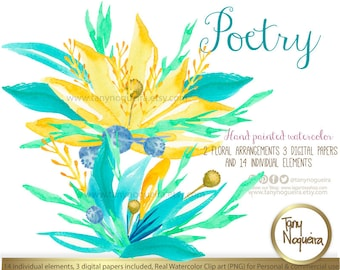 """Poetry,  Watercolor Floral Wedding Elements, Clipart, PNG, and 3 Digital Papers (12"""" x 12"""" JPG) Frames, posies, bouquet, for invitations"""