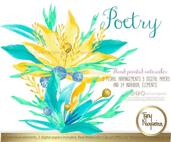 Poetry Flores Azules Y Amarillas Clipart Acuarela Png
