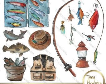 Fishing Time Watercolor Clipart PNG, Father's Day elements, Sublimation images, Fishing Lures