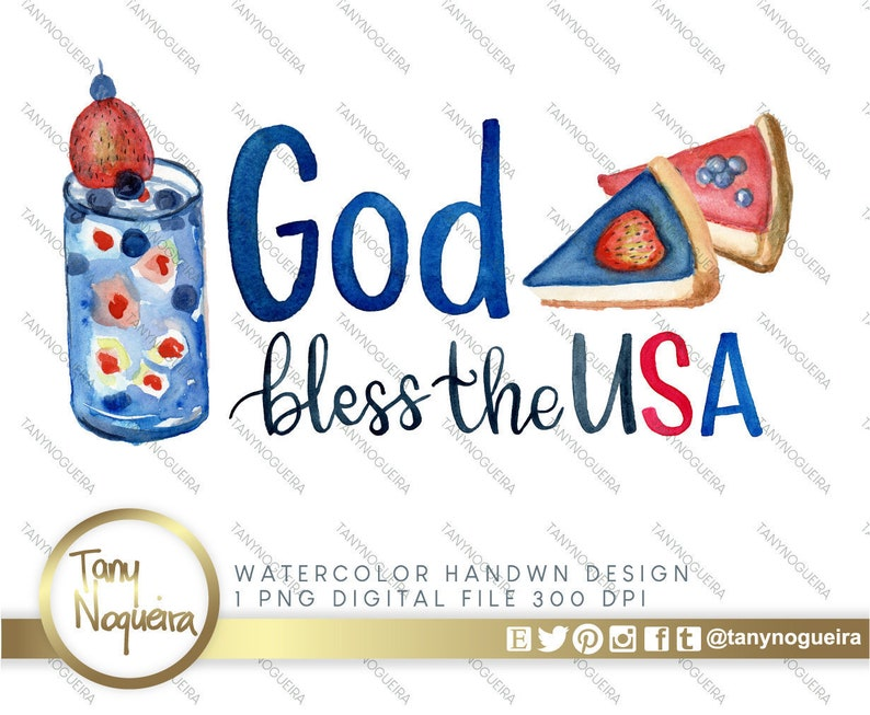 Watercolor Sublimation Lettering Image July 4th PNG  God image 0