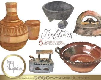 Watercolor Mexican Kitchen, jarros, cazuela, old metal plates, images watercolor hand painted PNG for blog cards invitations