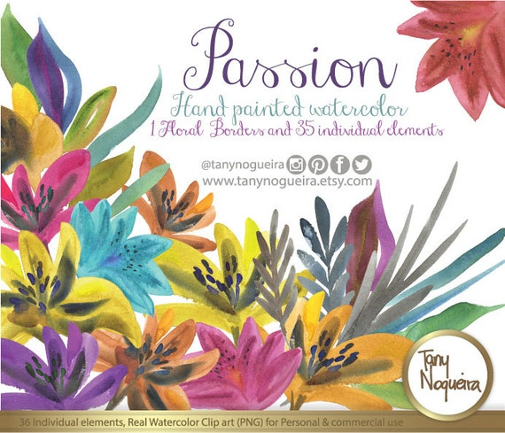 Passion Colorful Flowers Watercolor Clipart PNG Hand Painted Party For Invitations Blog Cards Quotes Prints From TanyNogueira On Etsy Studio