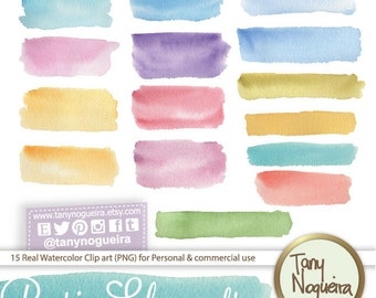 Banner Strokes clip art images watercolor hand painted PNG transparent background Instant Download for blog cards invitations