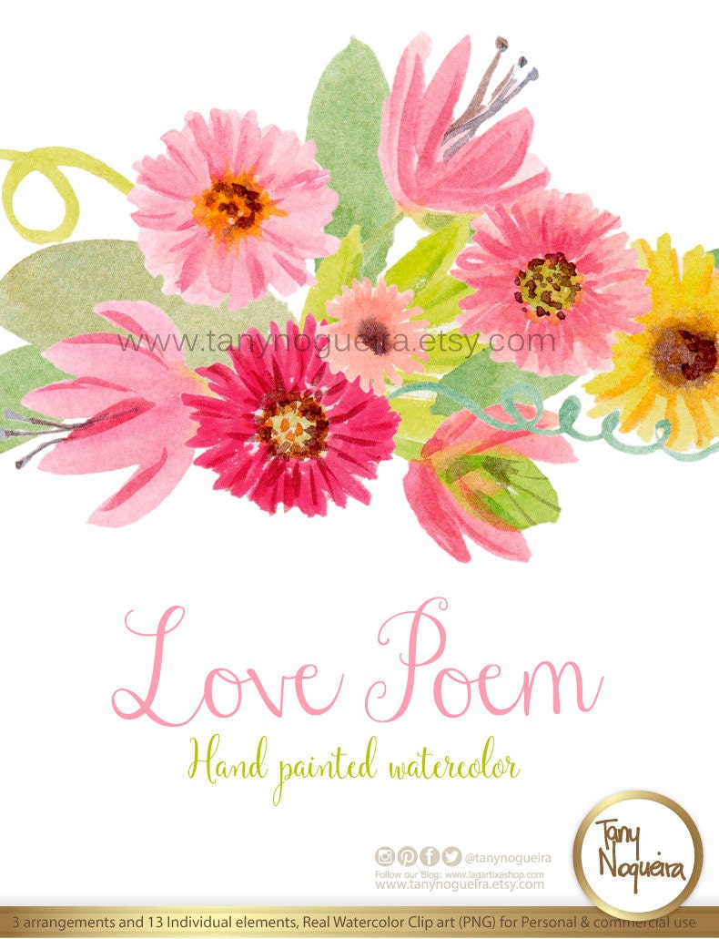 Love Poem Watercolor Floral Wedding Elements Clipart Png Etsy
