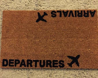 aviation doormat departure and arrivals with airplanes