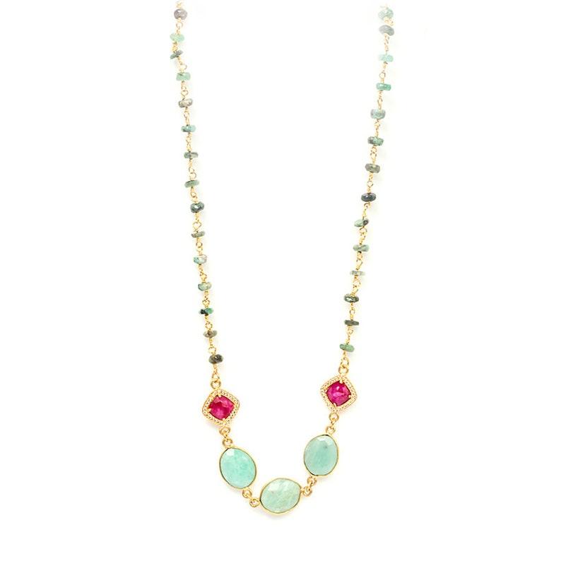 Emerald Amazonite Gemstone Necklace for Women