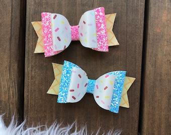Ice Cream Hair Bow, Ice Cream Hair Clip, Sprinkles Hair Bow, Sprinkles Headband, Ice Cream Bow, Ice Cream Headband