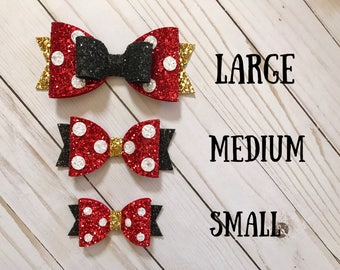 Minnie Mouse Hairbow, Minnie Mouse Hair Bow, Minnie Mouse Clip, Minnie Mouse Bow, Minnie Mouse Bow Headband