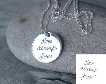Handwriting Disc Necklace - engraved handwriting necklace - personalized disc necklace - disc jewelry - Actual handwriting Jewelry