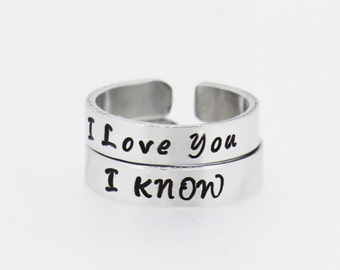 I Love You I Know  Best Friends Rings | Couples Rings | A pair of hand Stamped Aluminum Rings | Anniversary Gift | Lovers Gift