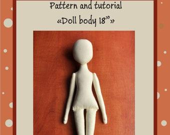 "PDF, Cloth Doll Pattern 18"" ,PDF Sewing Tutorial,Soft Doll Pattern"