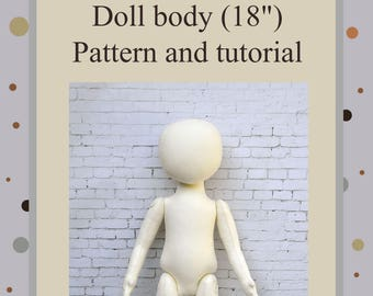 "PDF Sewing Tutorial  Cloth Doll Pattern 18 "" American girl Soft Doll Pattern"