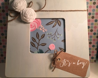 Gender Reveal Picture Frame...It's a Boy! Beautiful, hand painted picture frame to let everyone know... you're having a boy! Great gift!