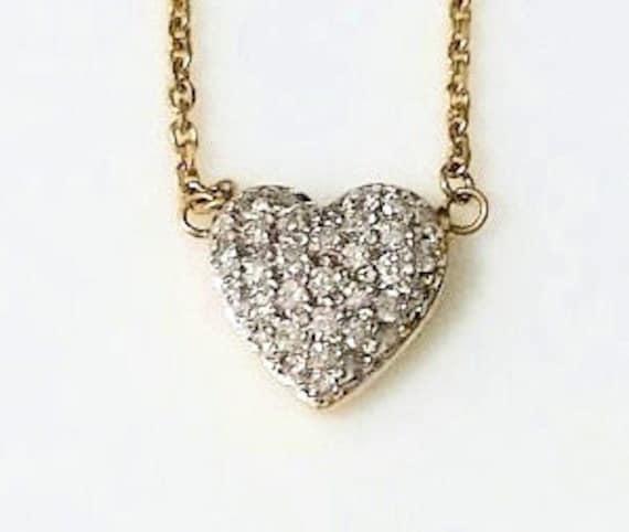 Pave Diamond Heart Necklace/14k Gold Heart Necklac