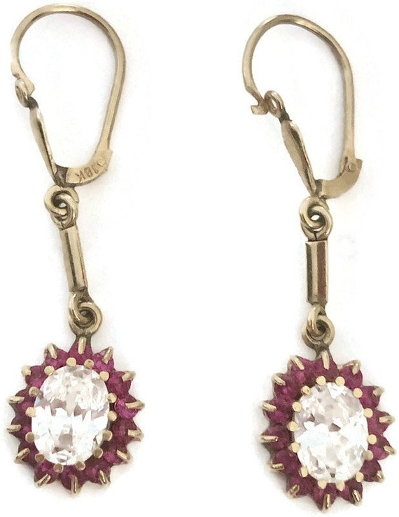 Victorian 18k Ruby and White Sapphire Drop Earring
