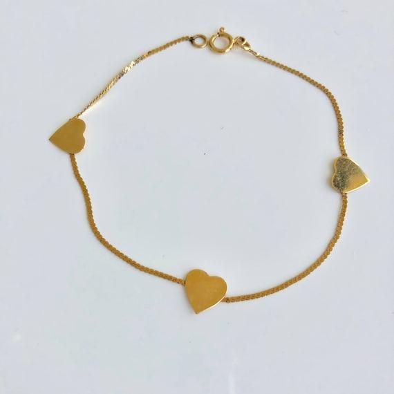 Gold heart bracelet|Heart Chain bracelet|14k Heart
