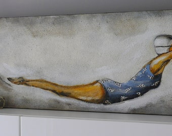 Woman acrylic painting,summer,sun,bathsuit,water,blue,points,grey ,white,women by Beate Frieling