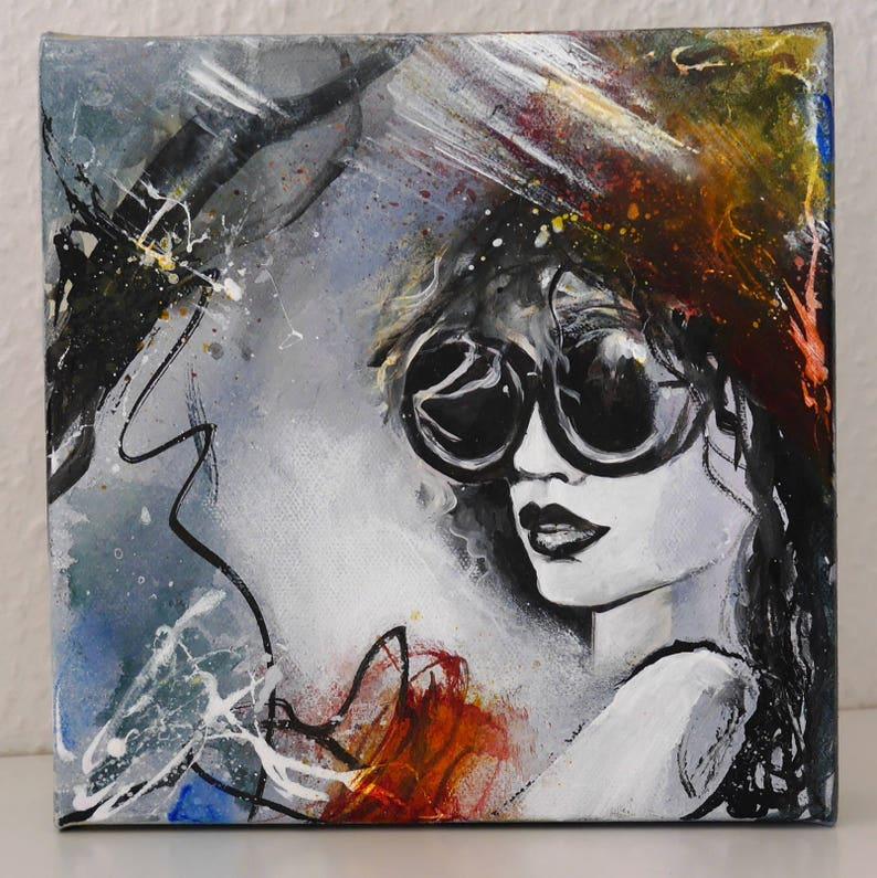 kleine moderne acryl schilderijen gezicht vrouw gezicht | etsy