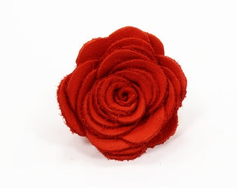 Mens Leather Lapel Pin / Boutonniere / RED