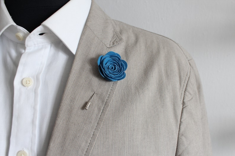 Mens Leather Lapel Pin  Boutonniere