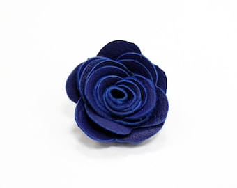 Mens Leather Lapel Pin / Boutonniere / Brooch / Flower / Royal Blue