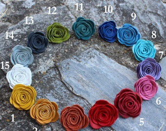 Mens Leather Lapel Pin Flower / Boutonniere / Brooch /