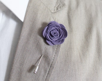 Mens Leather Lapel Pin / Boutonniere