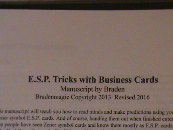 Esp Tricks With Business Cards Manuscript Mind Reading Magic Etsy