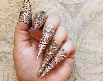 5 Silver Stiletto Nails Gothic Ring Armor Goth Steampunk Jewelry Sharp Nail Claws Long Witch