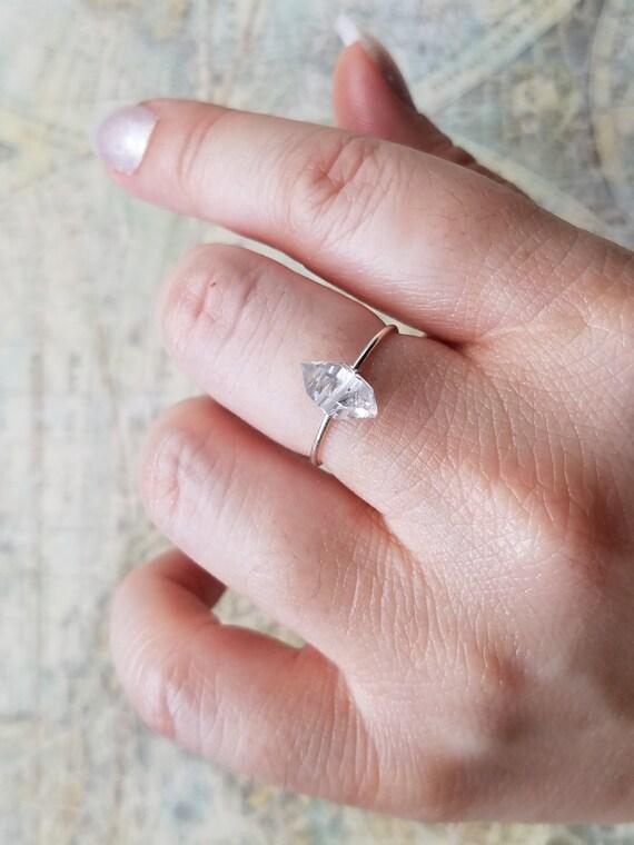 Herkimer Diamond Ring Dainty Ring Dainty Silver Ring Small Etsy