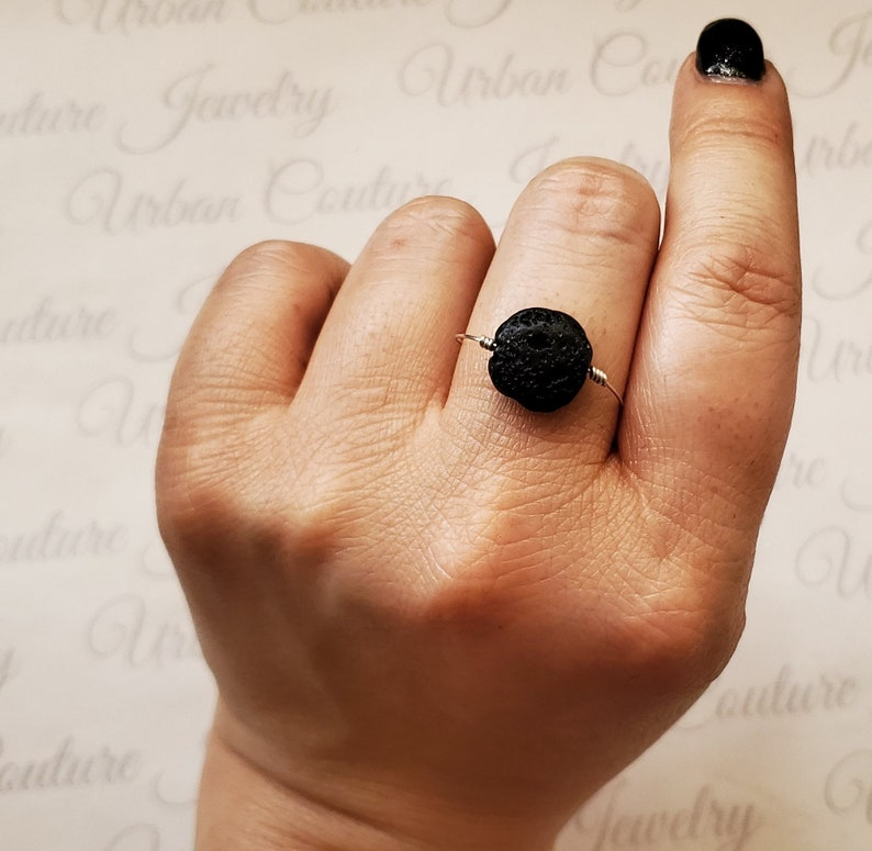 Lava Rock Aromatherapy Ring Oil Diffuser Ring Sterling image 0