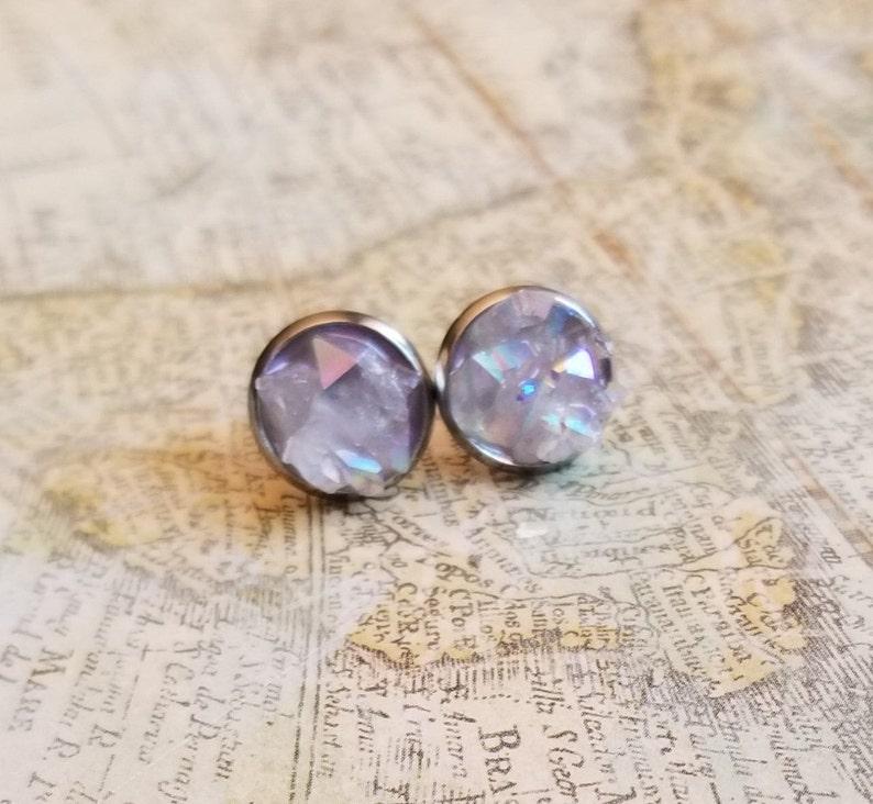 Fake Gauge Earrings Birthday Gift Angel Aura Opal Geode Druzy Stud Earrings Large Ear Studs Surgical Stainless Steel Earrings