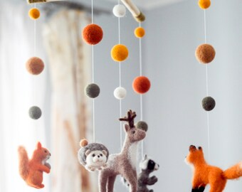 Needle Felted Baby Mobile, Forest animals, Woodland Baby Crib Mobile, Nursery Decor, Baby Shower Gift