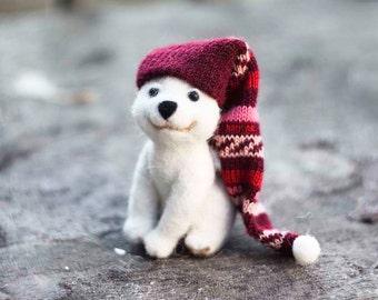 Needle felted Polar Bear, Teddy Bear, Christmas ornaments, Christmas Gift