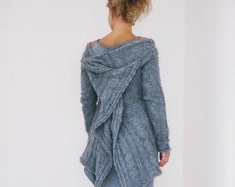 Women Sweater, Knit Sweater, Oversized Sweater, Loose Knit Sweater, Boho Sweater Tunic, Trendy Plus Size Clothing, Off Shoulder Knit Sweater