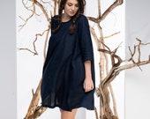 Women Linen Dress, Dark Blue Dress, Mini Dress, Summer Dress, Plus Size Clothing, Loose Dress, Linen Clothing, A Line Dress, Tunic Dress