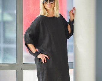 Linen Dress, Short Black Dress, Loose Dress, Casual Linen Dress, Maternity Dress, Extravagant Summer Dress, Plus Size Clothing, Women Dress