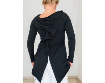 Tunic for Women, Plus Size Clothing, Wrap Top, Boho Clothing, Steampunk Clothing Women, Off Shoulder Tunic Top, Asymmetrical Cotton Tunic